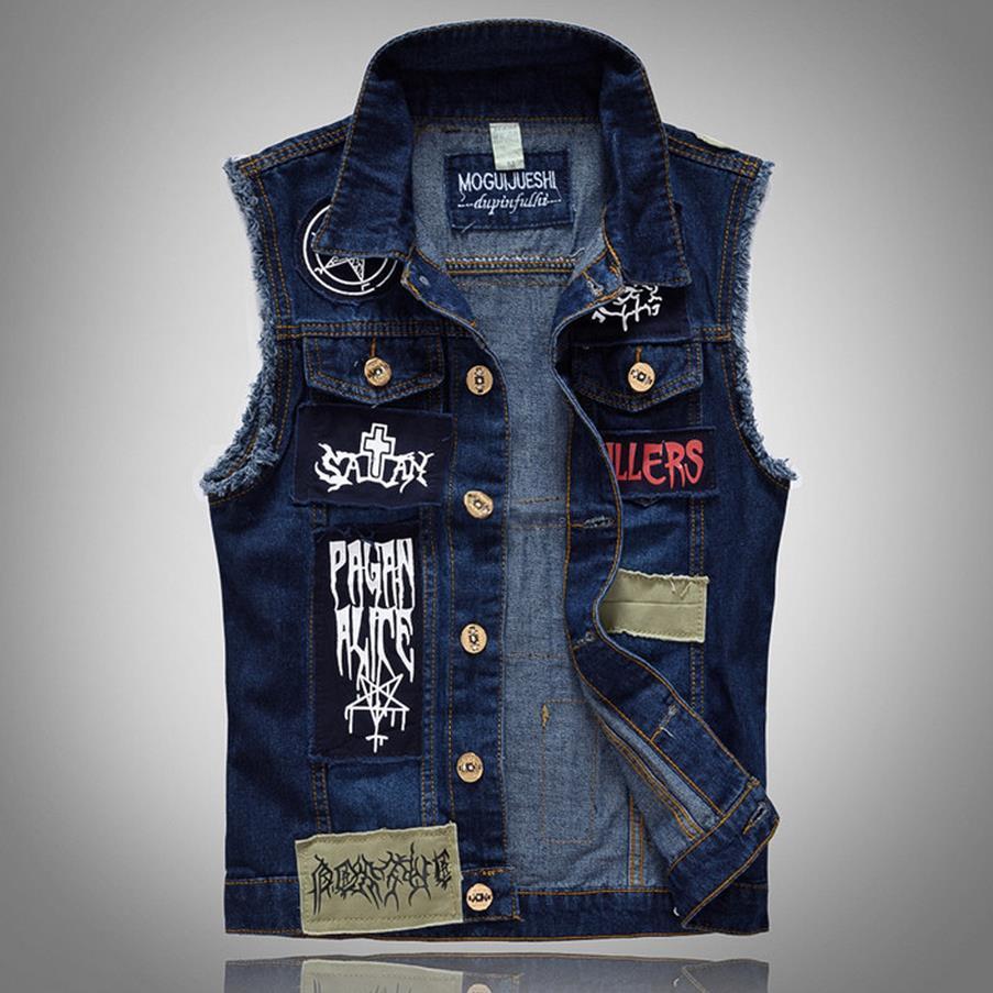 denim vest for men brand new menu0027s denim vest patch designs sleeveless jean jacket men punk hxvixpm