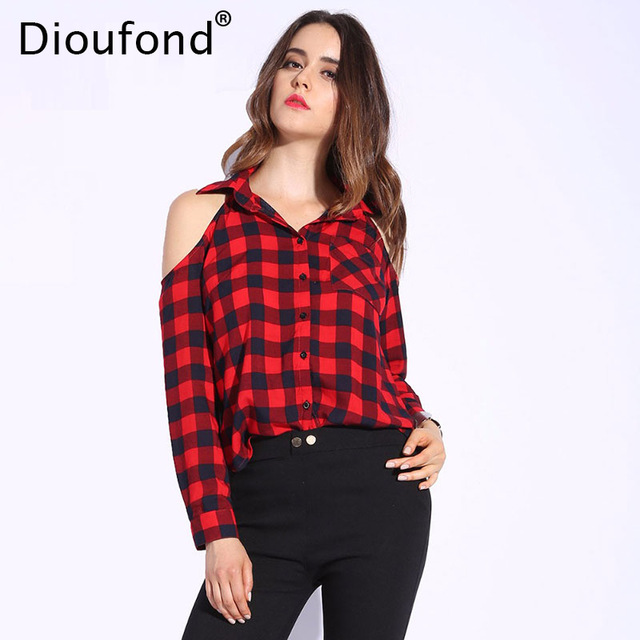 dioufond spring red plaid off shoulder tops shirts for women long sleeve noozbpl