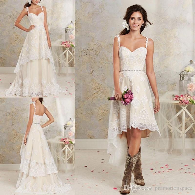 discount lace country wedding dresses with detachable train high low short  bridal fjqzoas