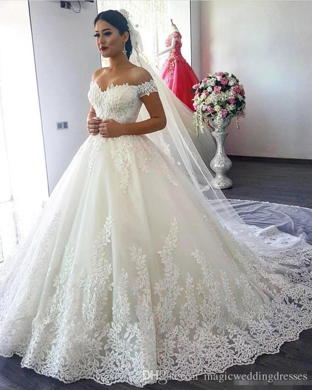 discount saudi arabia ball gown lace wedding dresses off the shoulder 2017 lrcbzja