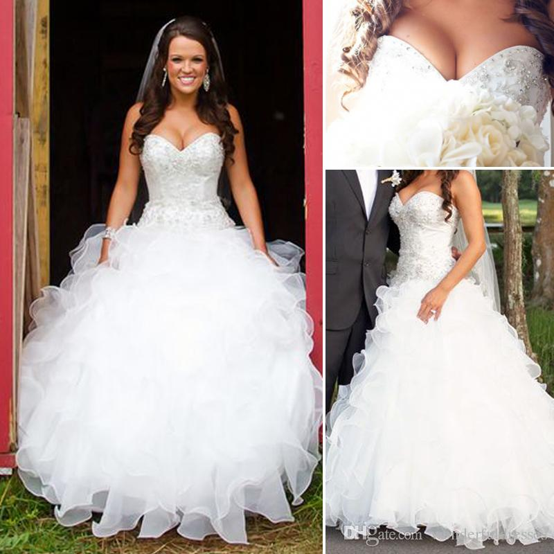 discount vintage plus size country wedding dresses a line sweetheart  ruffled organza ekyeevt