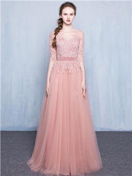dress for party 60 a-line bateau neck lace applique floor-length long evening dress oiskttf