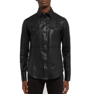elegant long sleeves men leather shirt xyxssgl