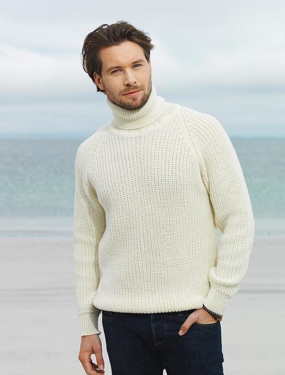 fishermanu0027s merino ribbed turtleneck sweater - white mqymseu