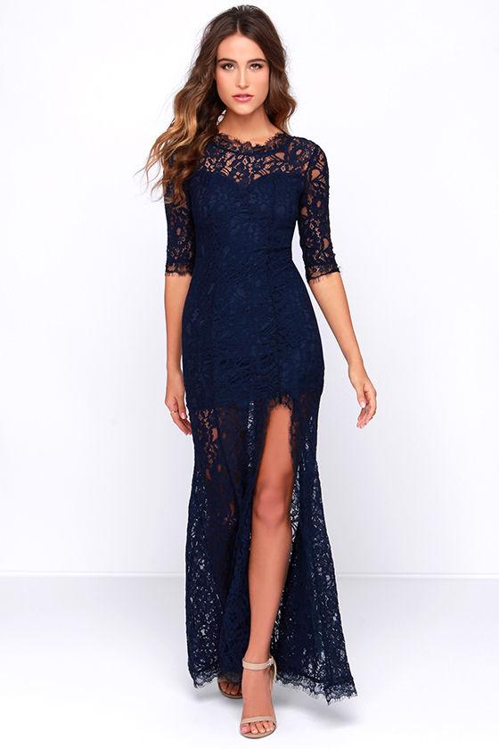 gorgeous navy blue dress - lace dress - half sleeve dress - maxi yacrhsb