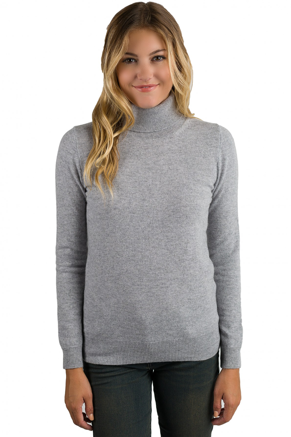 grey cashmere long sleeve turtleneck sweater front view ooqjhin