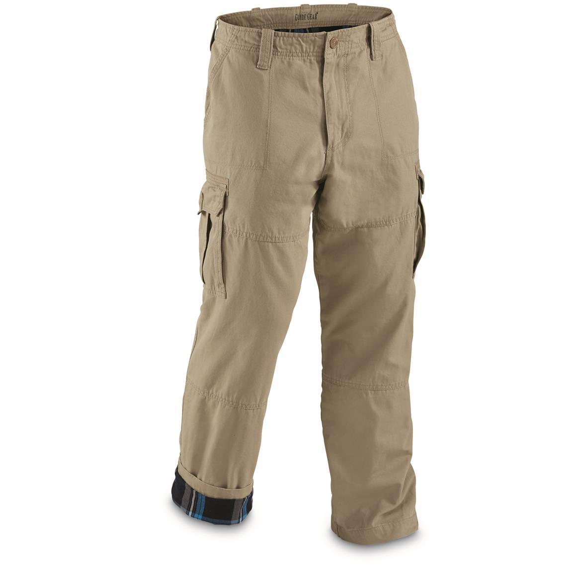 guide gear menu0027s flannel lined cargo pants, khaki - toasty-warm flannel bukrlmy
