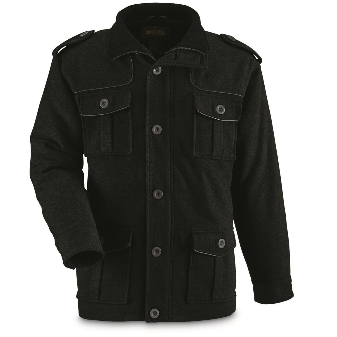 guide gear menu0027s military style jacket, black nscfkjx