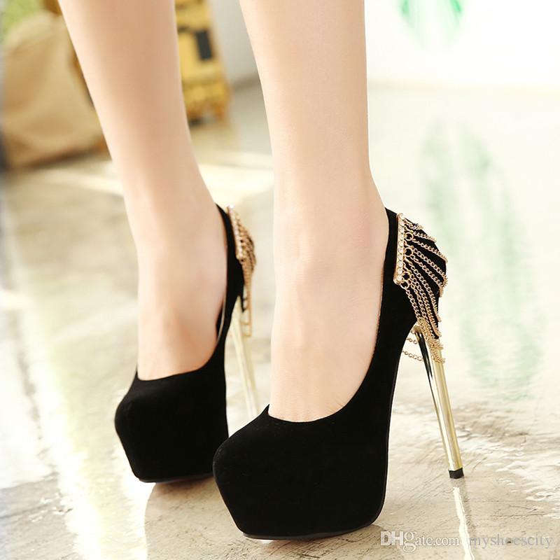 high heels for women 2016 black gold chain rhinestone shoes women high heels red wedding shoes xmcwwyn