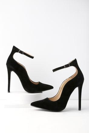 high heels for women porter black suede ankle strap pumps 1 yxazvcu