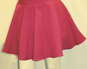 high waist full circle pink skirt, skater skirt~elastic waist band with one lgfiidc