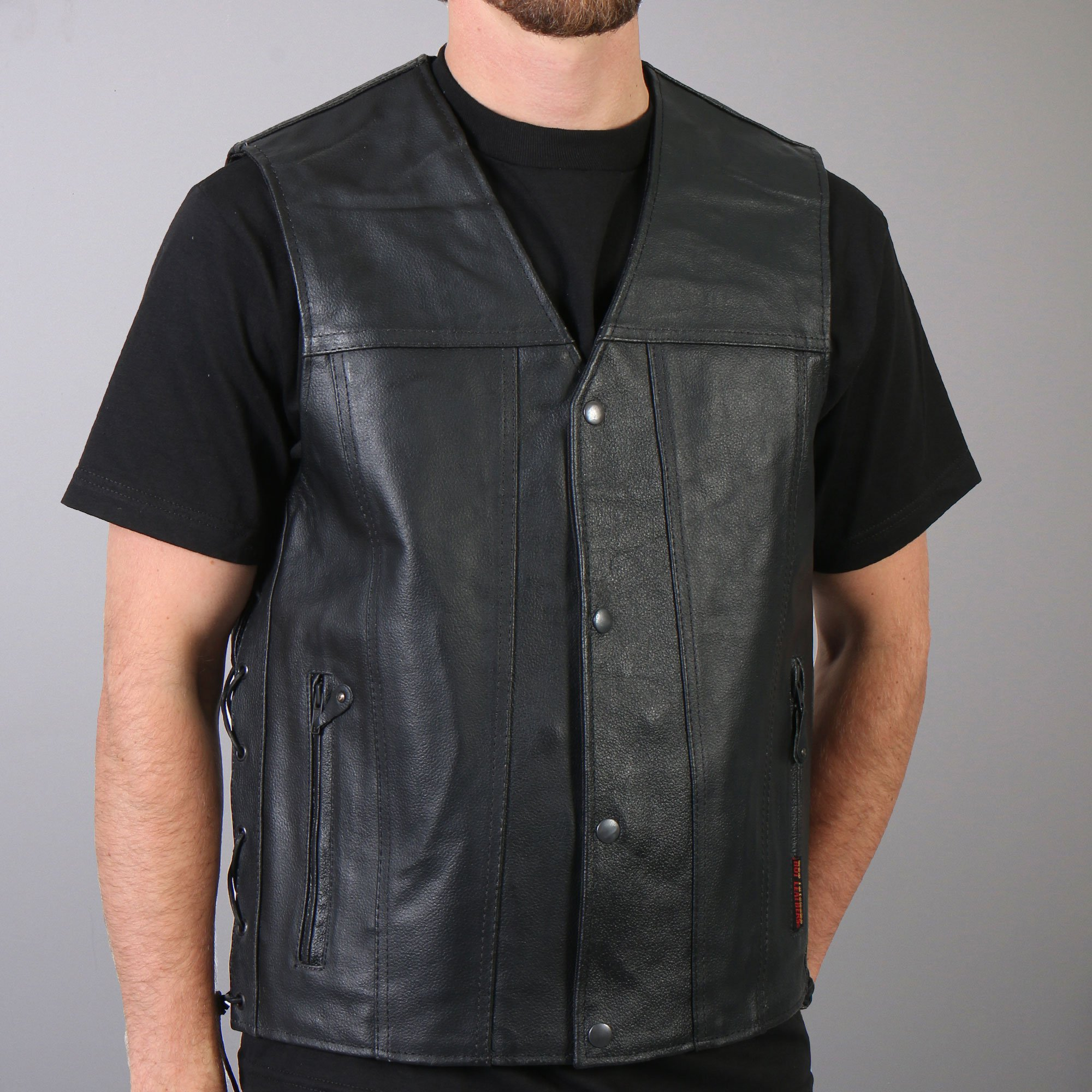 hot leathers menu0027s concealed carry leather vest w/ lace up sides aaqgvri