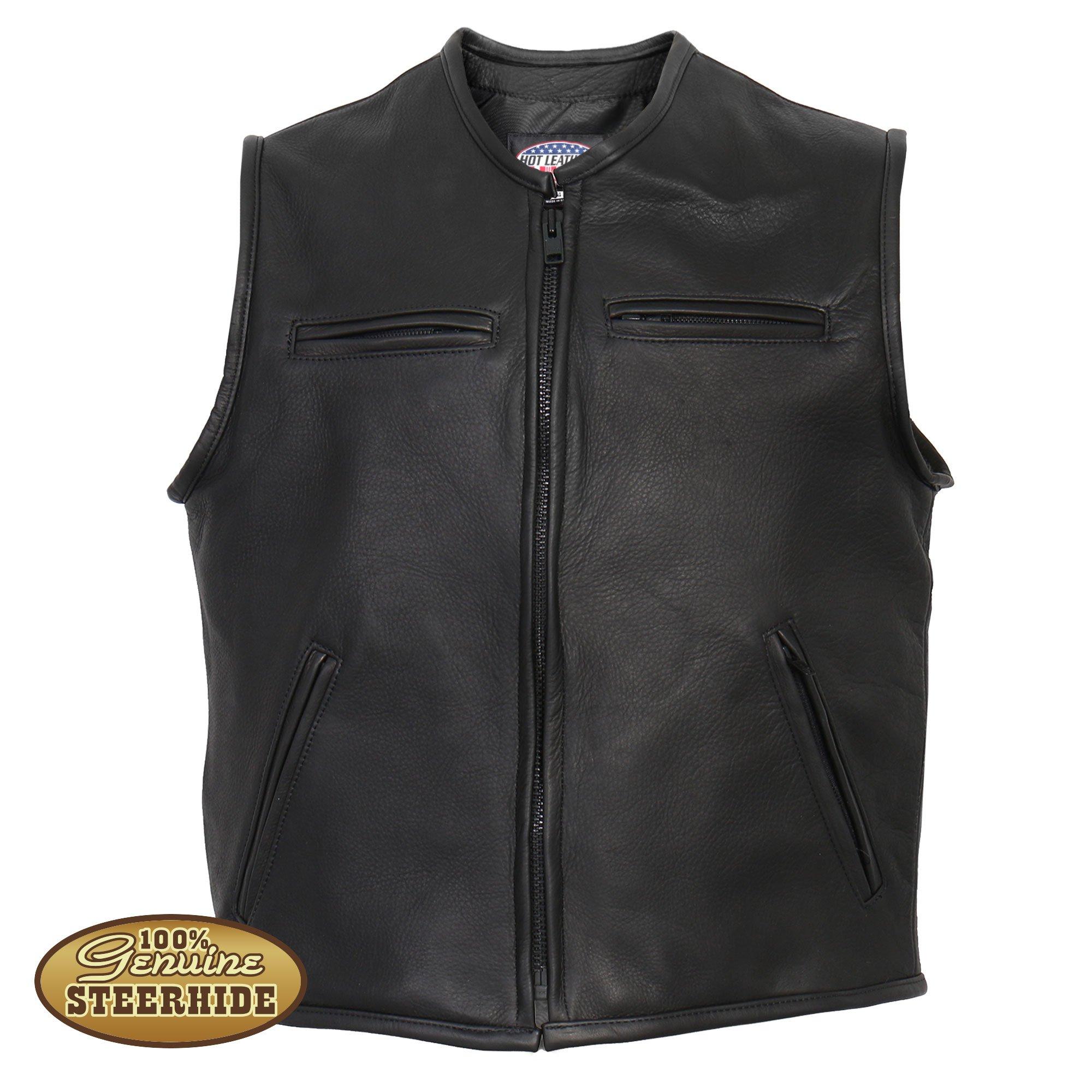 hot leathers menu0027s usa made premium steerhide leather vest umortjy