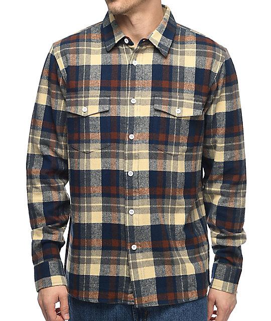 huf miller navy flannel shirt ... ystmvct