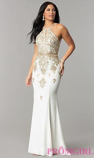 ivory dresses jvnx by jovani high-neck long prom dress - promgirl crzrbyi