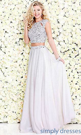 ivory dresses long beaded two-piece prom dress with cut outs . rsrvyqe