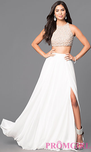 ivory dresses two-piece ivory prom dress with beaded top -promgirl tuwlasf