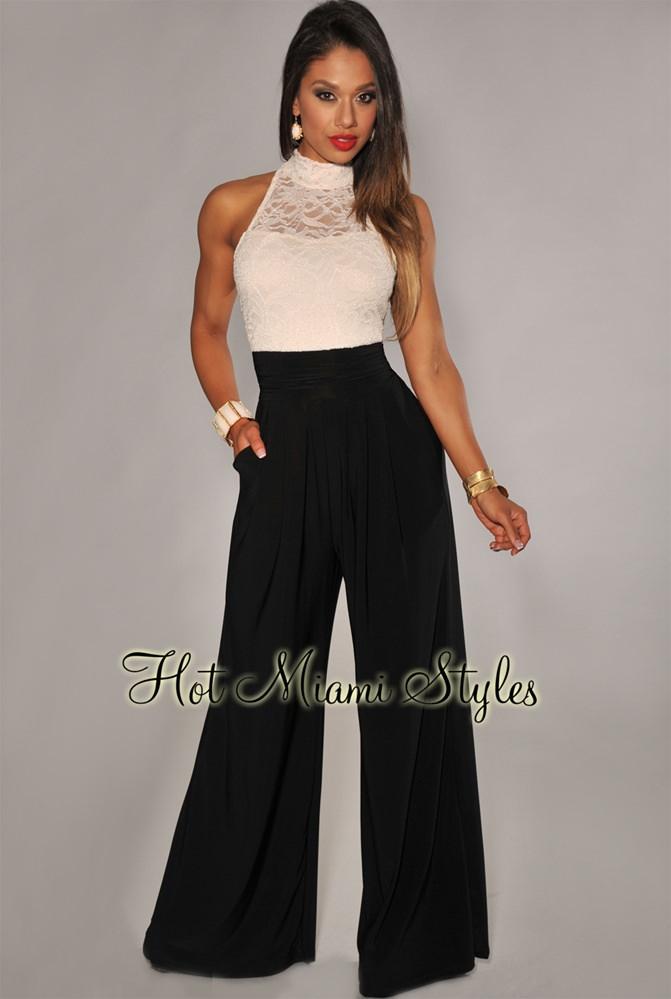 ivory lace black wide leg jumpsuit ylwxsrw