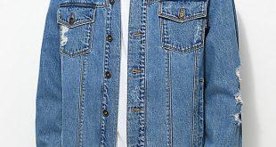 jean jacket empyre ticket destructed blue denim jacket ... otxxeoj