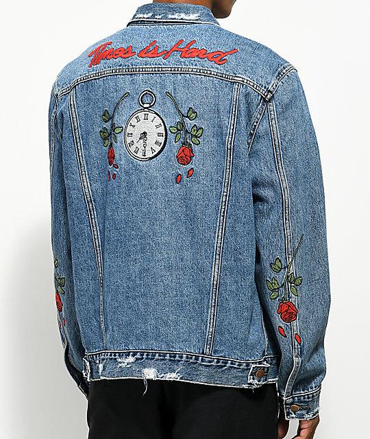 jean jacket hstry roses light blue denim jacket ... dnvitej