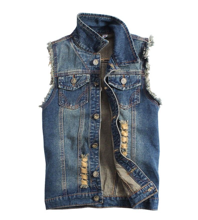 jean vest plus size m to xxxl menu0027s boys ripped denim vest vintage style sleeveless ikguaji
