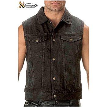 jean vest xelement b285 mens black denim motorcycle vest - x-large rpcbnsh