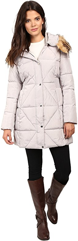 jessica simpson coats jessica simpson cinched waist puffer w/ hood and removable faux fur kraywwg