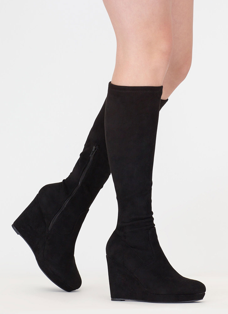 knee hi faux leather wedge boots black ... rthzhio