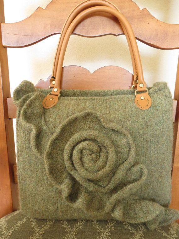 knitting bags green rose felted purse pattern knit bag by theknittingcloset, $5.00 i love mmbihhv