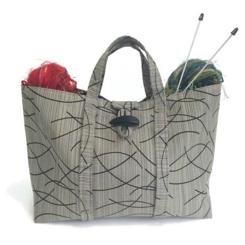 knitting bags the large knitting bag taupe and black graphic blhkdqg