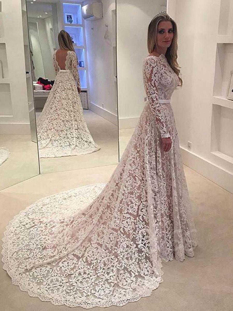 lace wedding dresses long sleeve backless lace wedding dress ... tgdniam