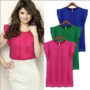 ladies tops image is loading womens-summer-loose-casual-chiffon-sleeveless-vest-shirt- epgubgk