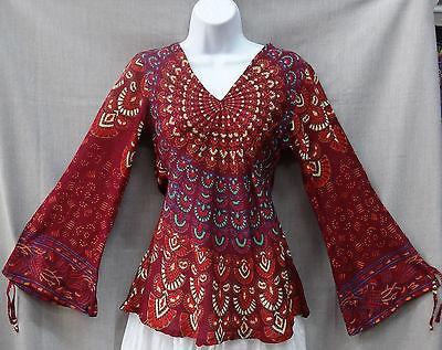 ladies tops indian womens ladies peacock hippie boho shirt top cotton maroon burgandy wzohtsv