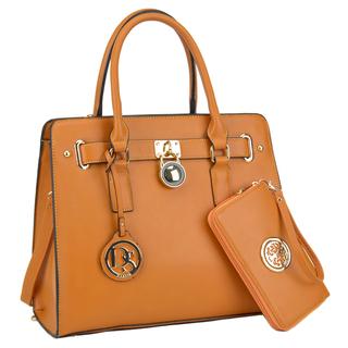 leather bags dasein large saffiano leather padlock satchel handbag with matching wallet enjkjla