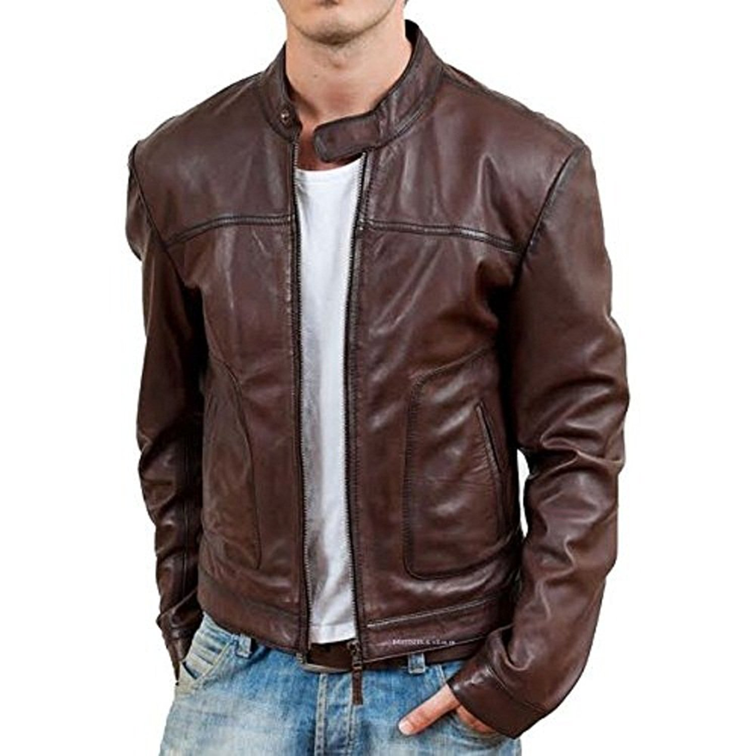 leather jacket for menu0027s full sleeves band collar comfortable lambskin leather  jacket nefmnqr