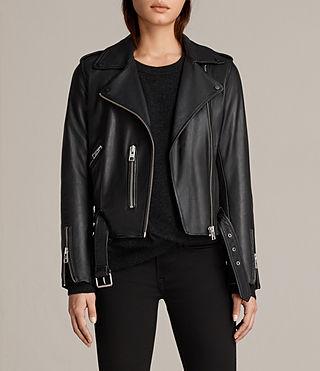 leather jacket womens balfern leather biker jacket (black) - image 1 tsjnein