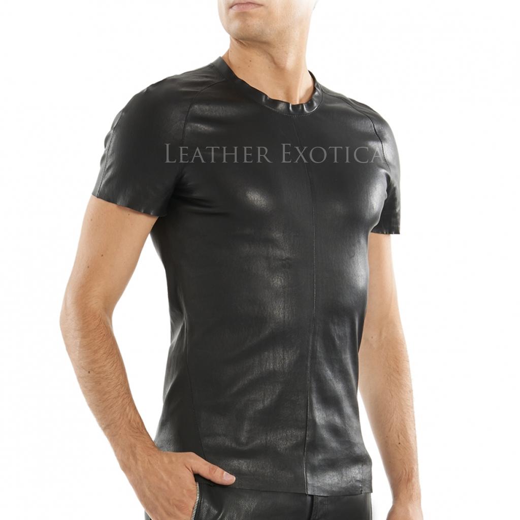 leather shirt lamb leather t-shirt for men jmrtmwr