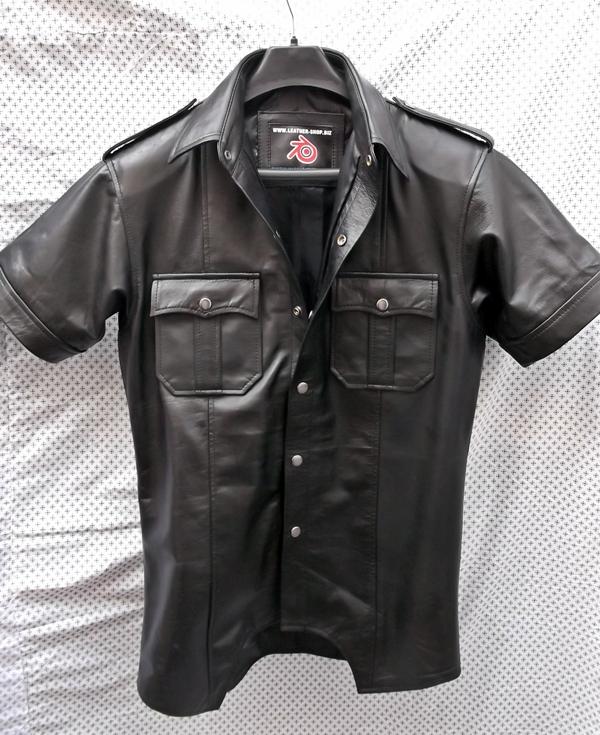 leather shirt ls205-short-sleeve-leather-shirt-custom-made-www. igofsmh