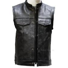 leather vest mens motorcycle leather outlaw mc club biker vest w/ conceal gun pockets - kdtngwb