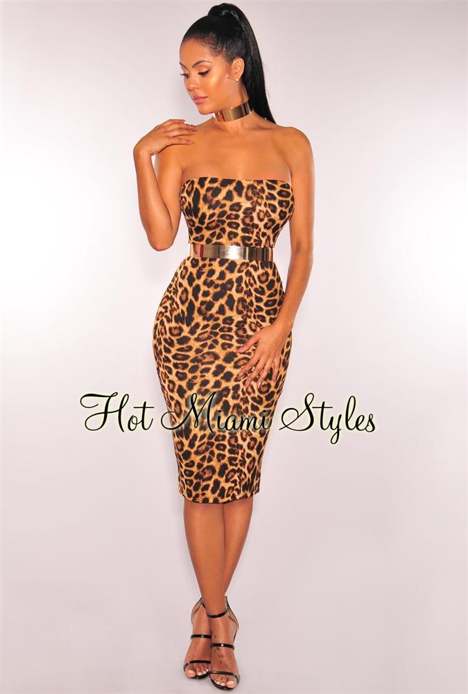 leopard print dress leopard print strapless midi dress wxuyddv