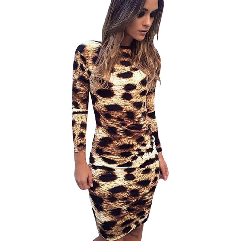 leopard print dress sexy women backless leopard print long sleeve dress bodycon mini dress-in  dresses mlksvcl