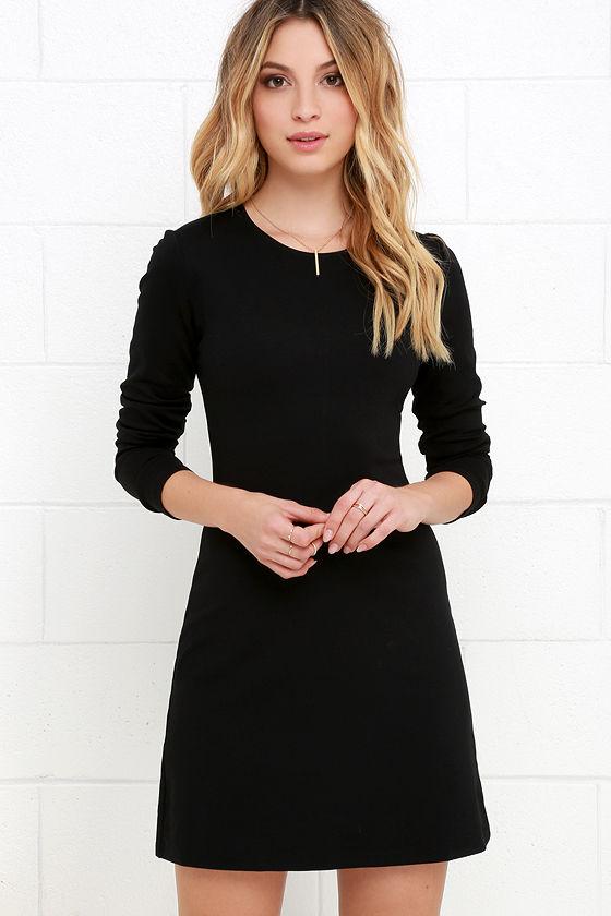 long sleeved dresses classic black dress - lbd - long sleeve dress - a-line dress - nptuiuq