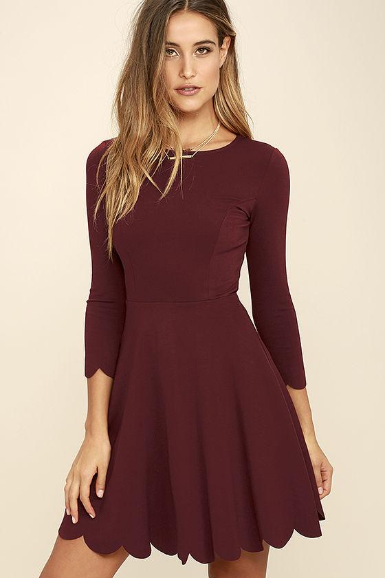 long sleeved dresses cumulonimbus clouds burgundy skater dress 1 omwcmtv