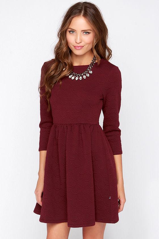long sleeved dresses diller dress - burgundy dress - long sleeve dress - $79.00 eietecg