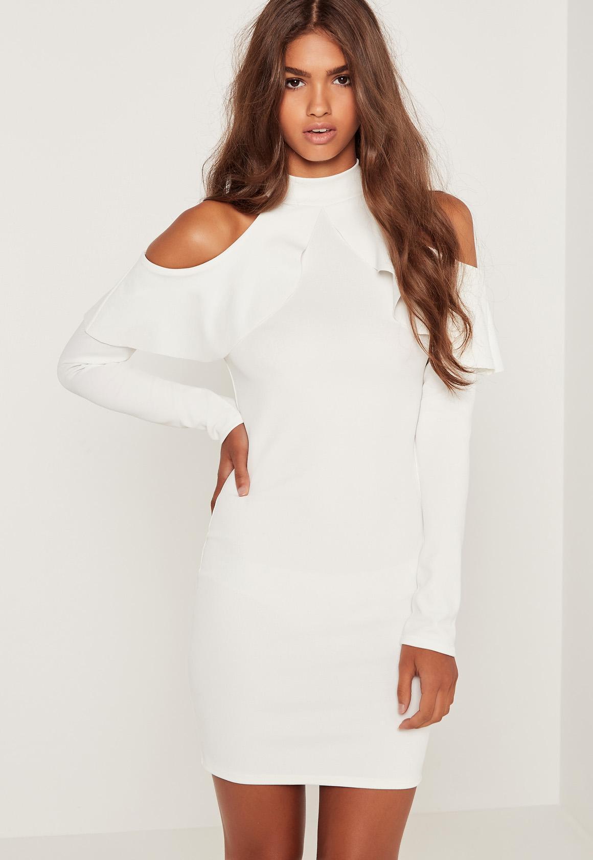 long sleeved dresses frill cold shoulder long sleeve dress white vskovqj