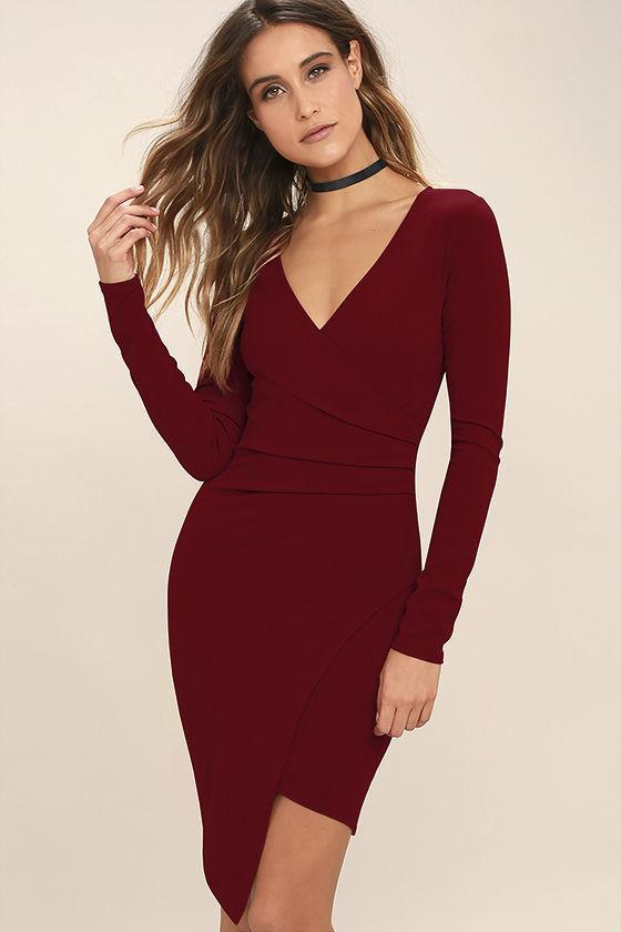 long sleeved dresses love me completely dark red long sleeve bodycon dress 1 enknluy