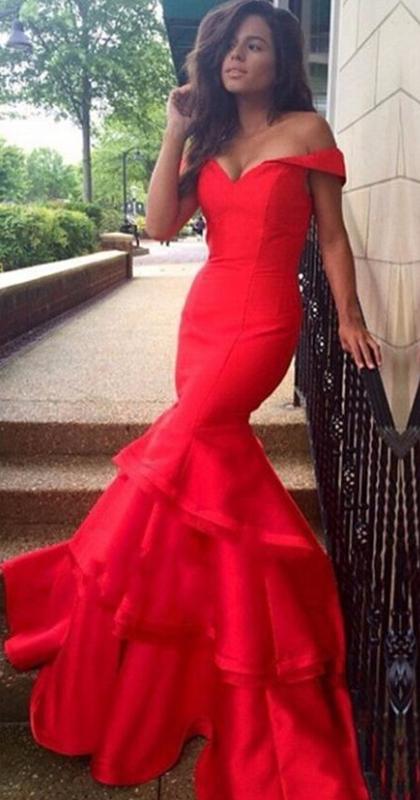 long trumpet/mermaid off-the-shoulder taffeta red prom dresses 2017 hzshqpk