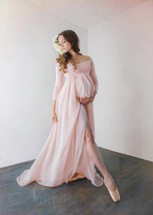 maternity gowns patricia gown - off the shoulder chiffon maternity gown - long sleeve maternity sdantbx