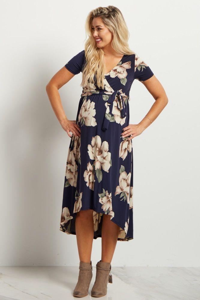 maternity wear navy floral hi-low midi maternity/nursing wrap dress xpzovcr