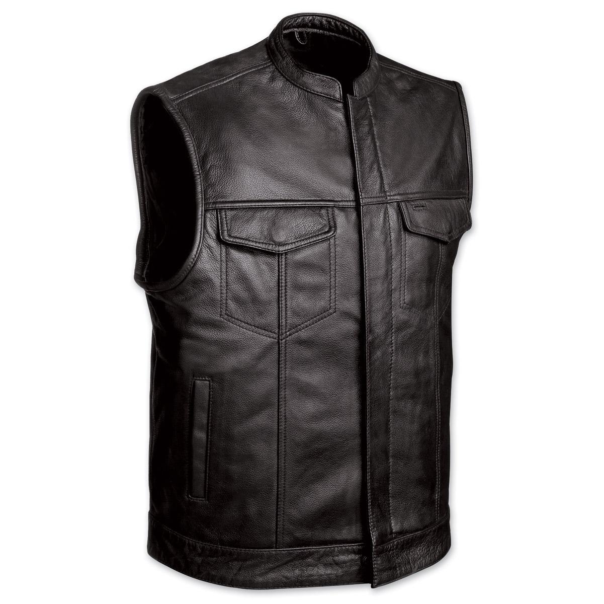 menu0027s club motorcycle black leather vest iwqnatp